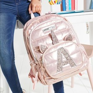 Rose Gold Quilted Unicorn Initial Backpack A